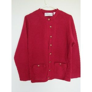 Woman's Burgundy Sweater with Gold Buttons 2 Sz S